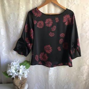Vince Camuto Blouse Black Floral Loose Fit Top S